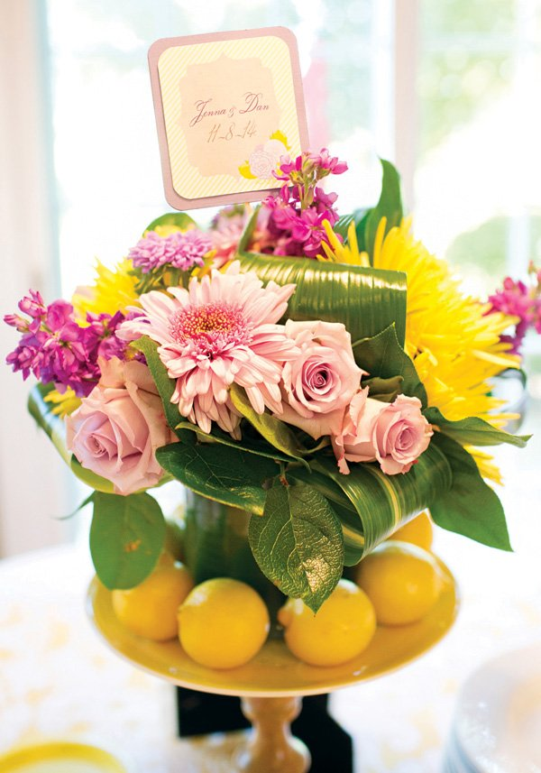 lemon adorned floral arrangement