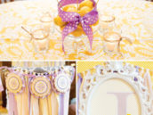 yellow and purple bridal shower decor ideas