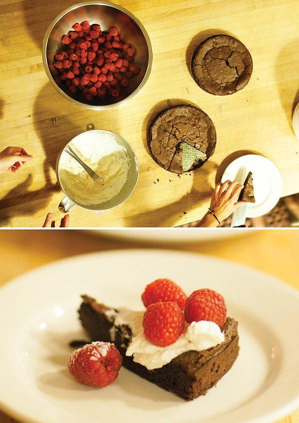 chocolate torte with marscarpone and berries