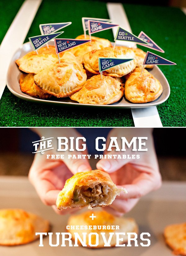 Big Game Party: Free Printable Banners & Football Food Picks {+ Cheeseburger Turnovers Tutorial}