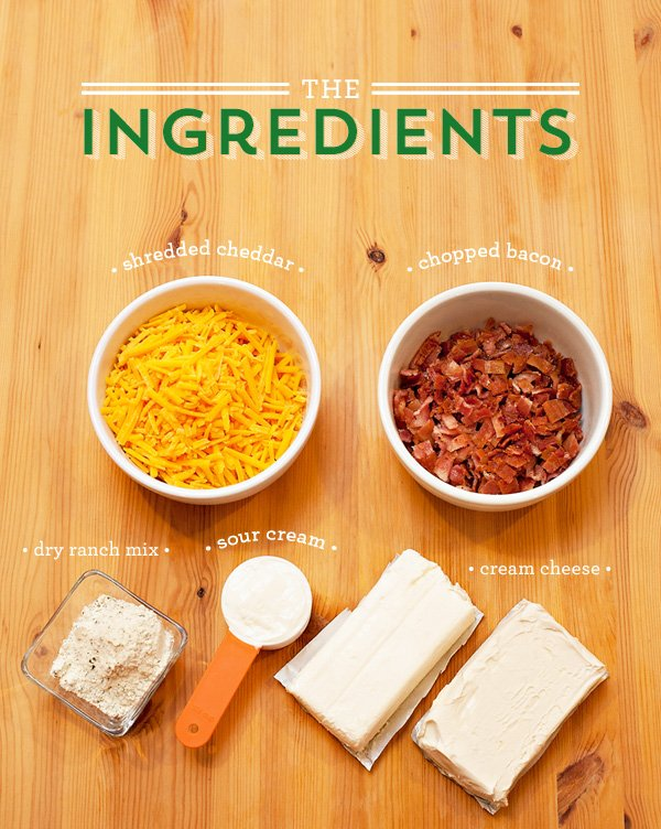 Bacon Ranch Cheddar Pigskin Cheese Ball - Ingredients