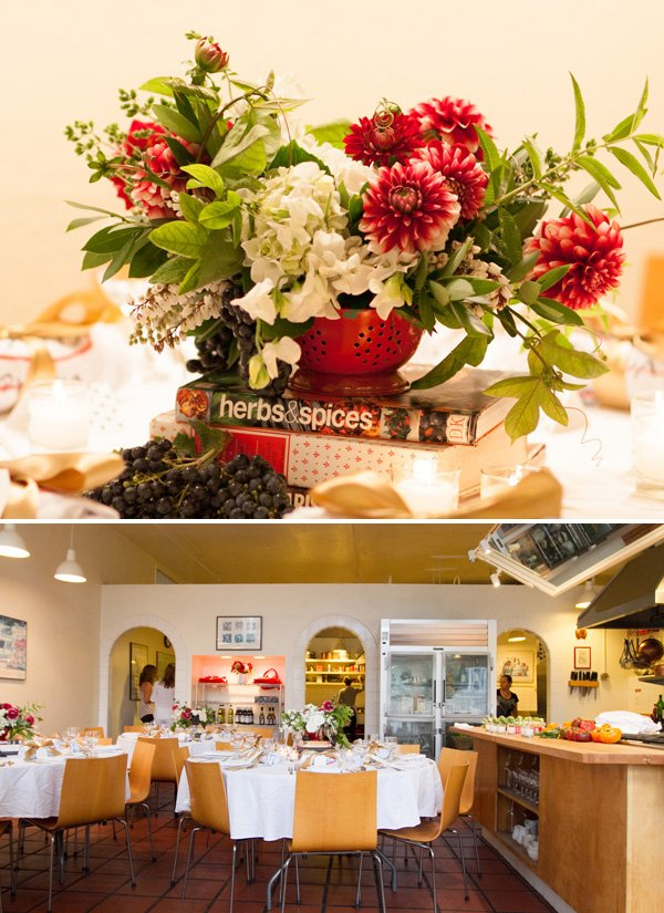italian cooking party floral centerpieces and tables