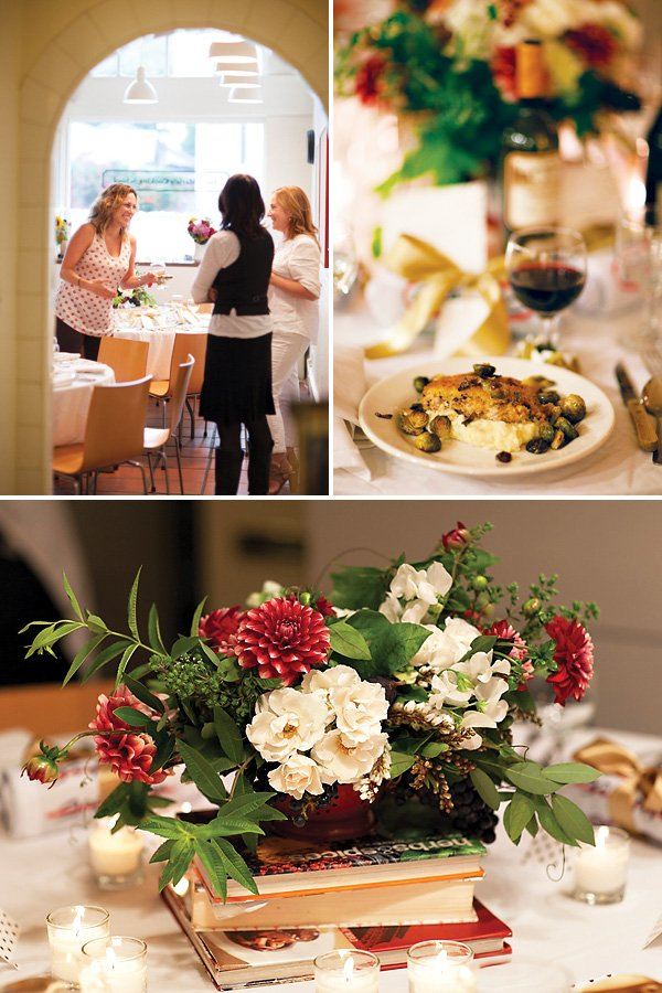 red white green vintage floral centerpieces - cooking party