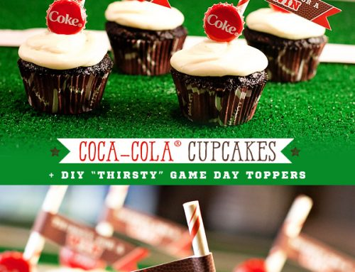 "Coca-Cola Cupcakes with ""Thirsty"" Game Day Toppers"