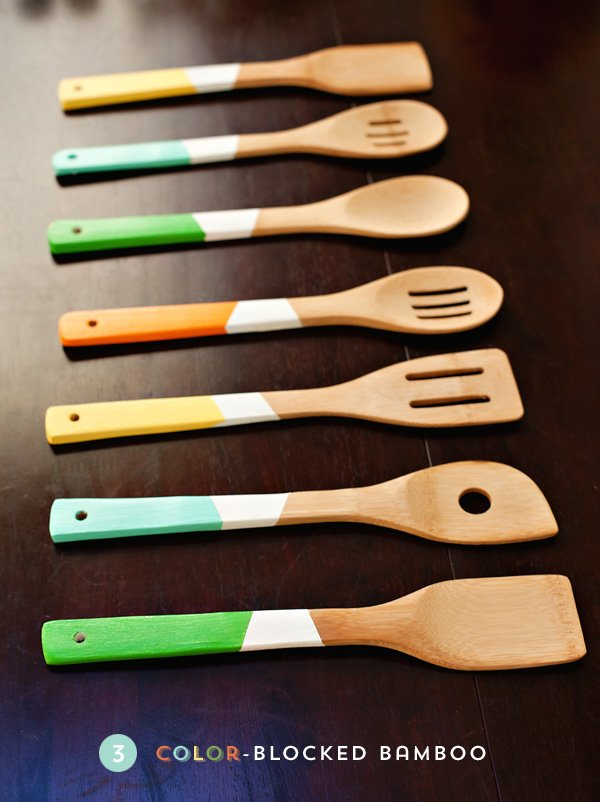 DIY Colorblocked Wooden Kitchen Utensils