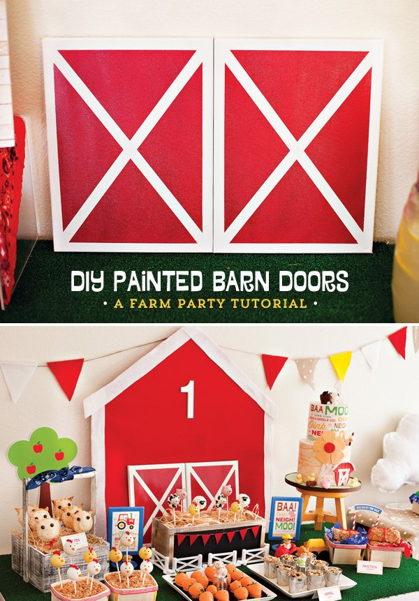 Farm party tutorial diy painted barn doors hostess for Farm door ideas
