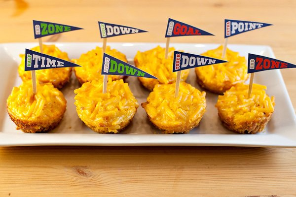 mac-and-cheese bites with football game toppers
