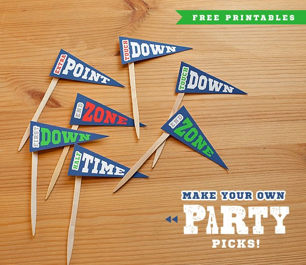 free printable DIY football toppers