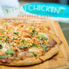 Thai Chicken Flatbread Pizza with Lightened Up Peanut Sauce