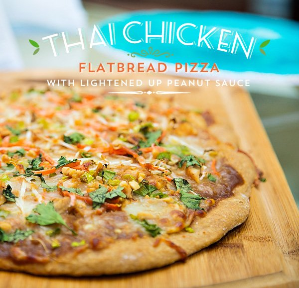 Thai Chicken Flatbread Pizza with Lightened Up Peanut Sauce
