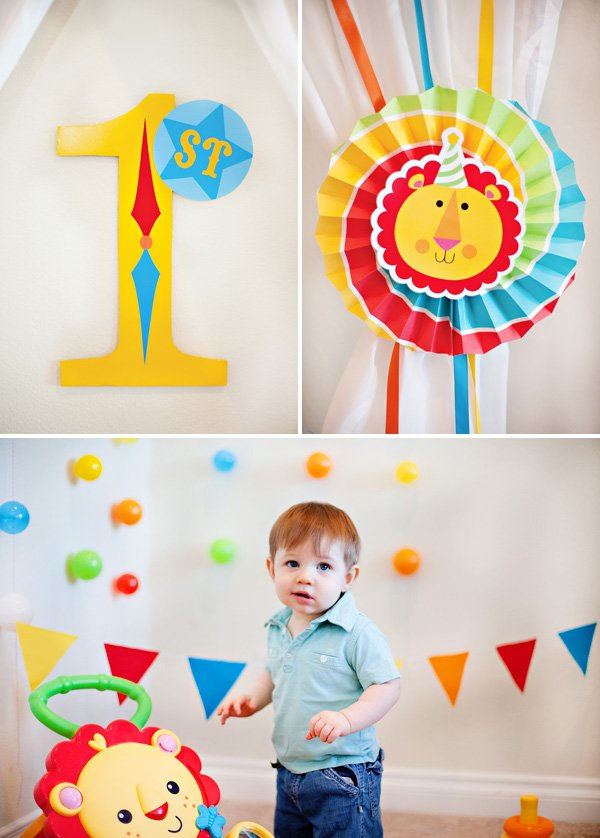 colorful circus birthday decortations