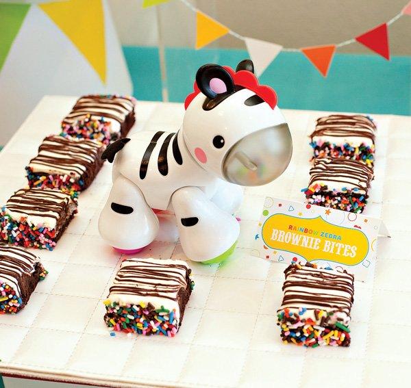 rainbow zebra brownies - circus party treats