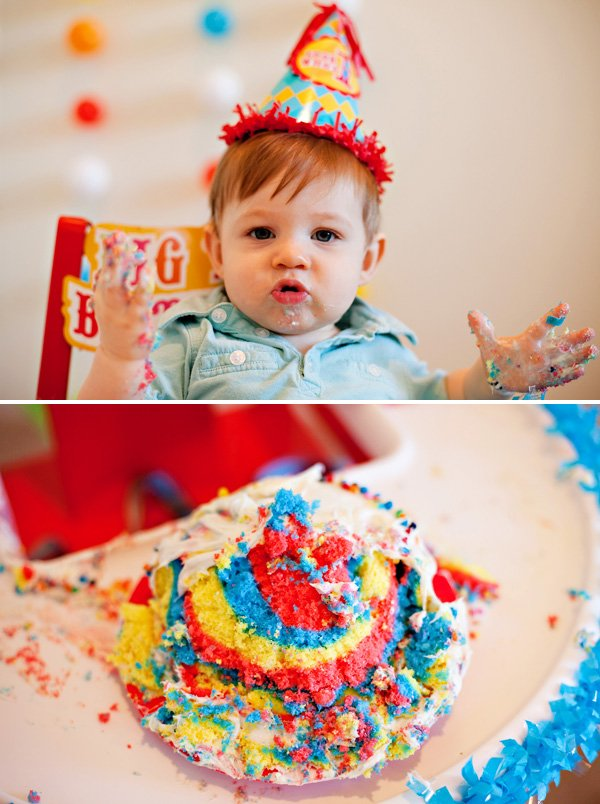 rainbow smash cake - circus birthday party