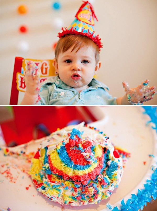 rainbow smash cake - circus birthday party