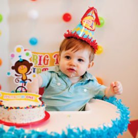 Circus First Birthday Party smash cake & high chair