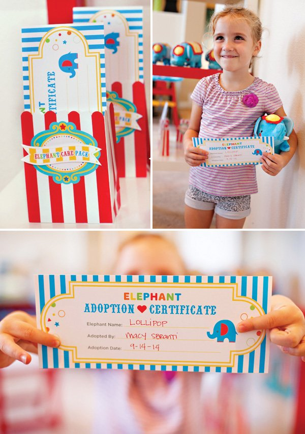 circus party activity - stuffed elephant adoption