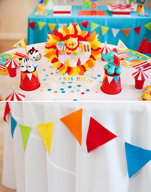 Bright colorful big top birthday circus animals hostess with the mostess - Decoration theme cirque ...