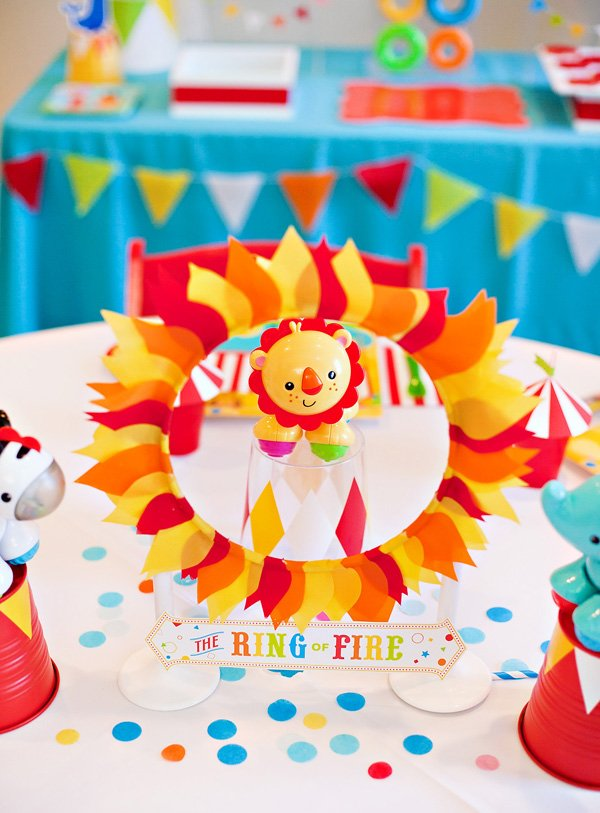 DIY Ring of Fire Centerpiece - Circus Birthday