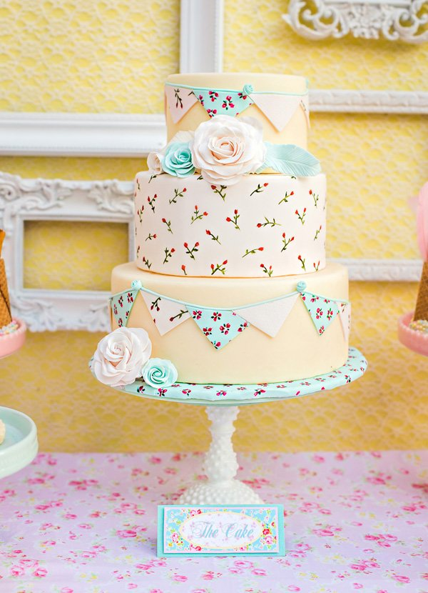 Shabby Chic Cake with Hand Painted Roses