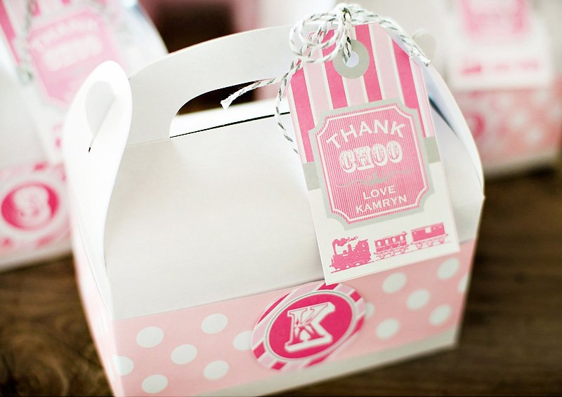 girlie train party custom favor boxes