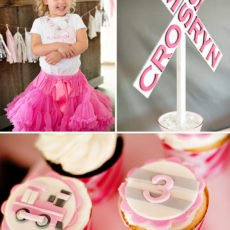 Girlie Train Birthday Party - Outfit, Cupcakes, Railroad Sign