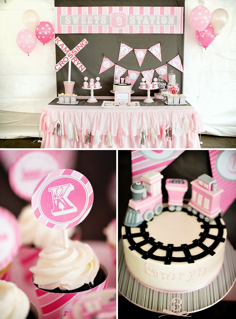 girlie train party dessert table