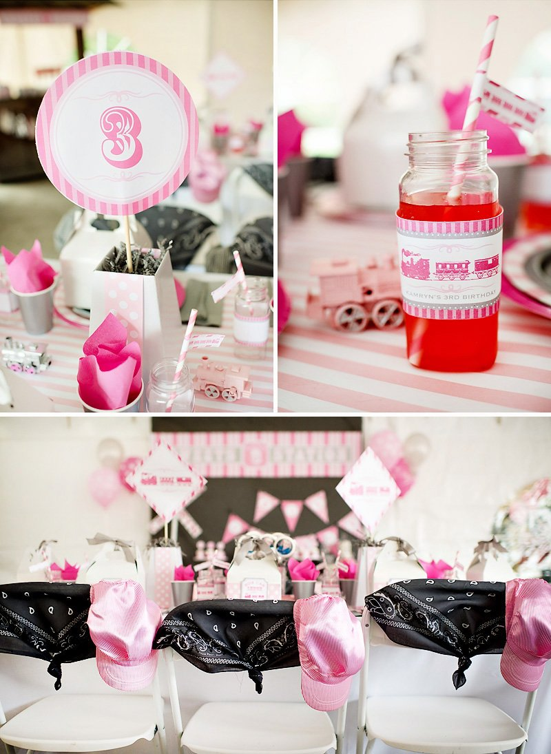 girlie train birthday party table, drinks, and chairs