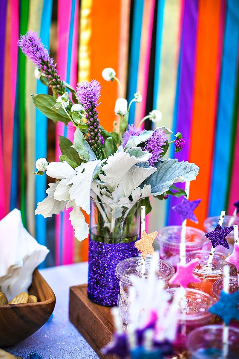 Glitzy magical neon garden party joint birthday