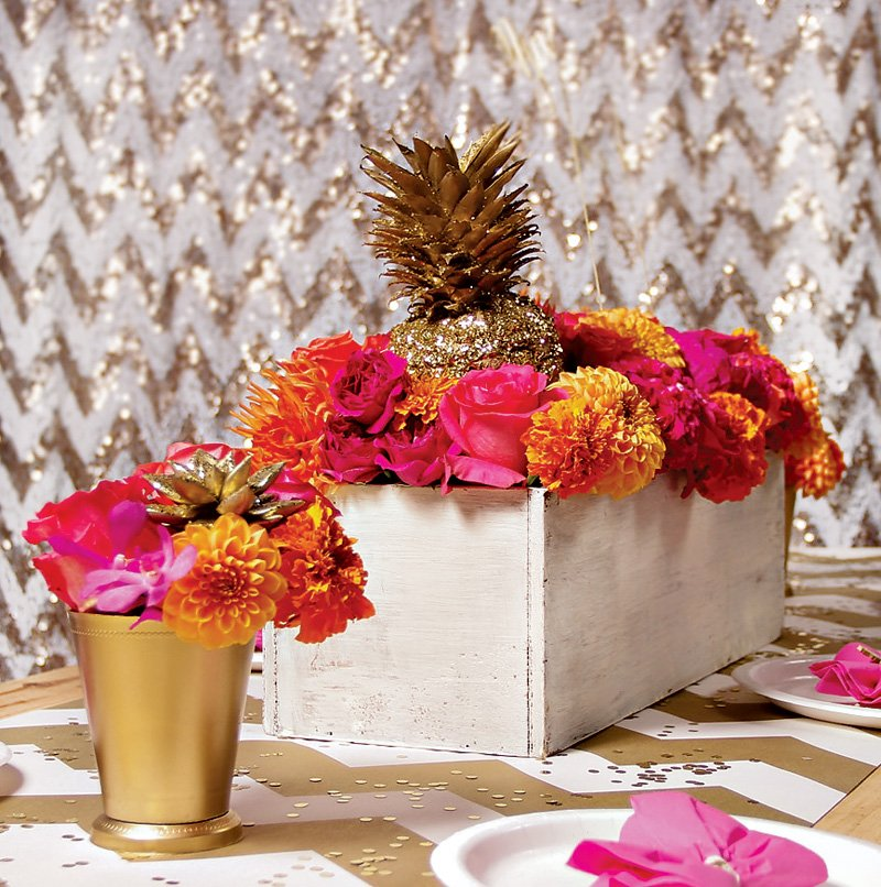 pink and gold pineapple centerpiece