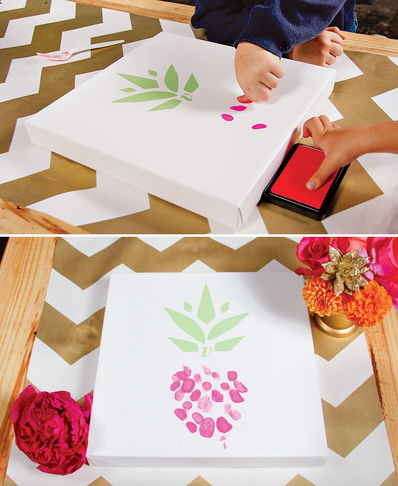 pineapple themed thumbprint guestbook DIY