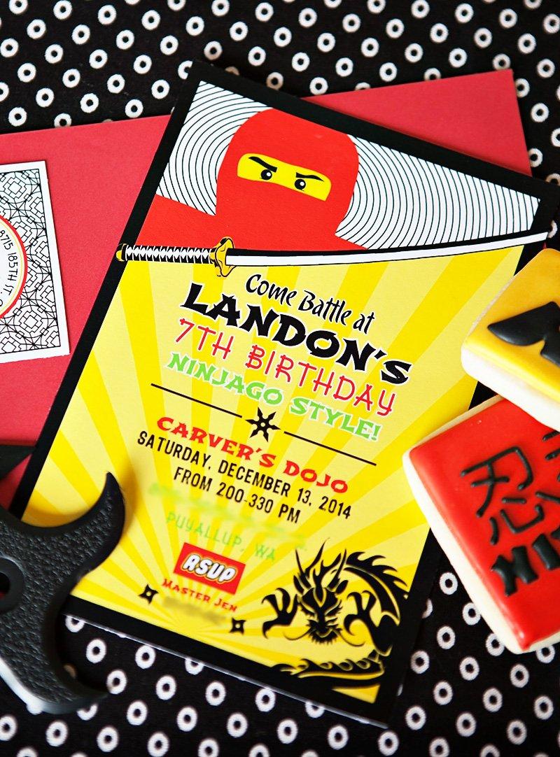Red and Yellow Ninjago Invitation
