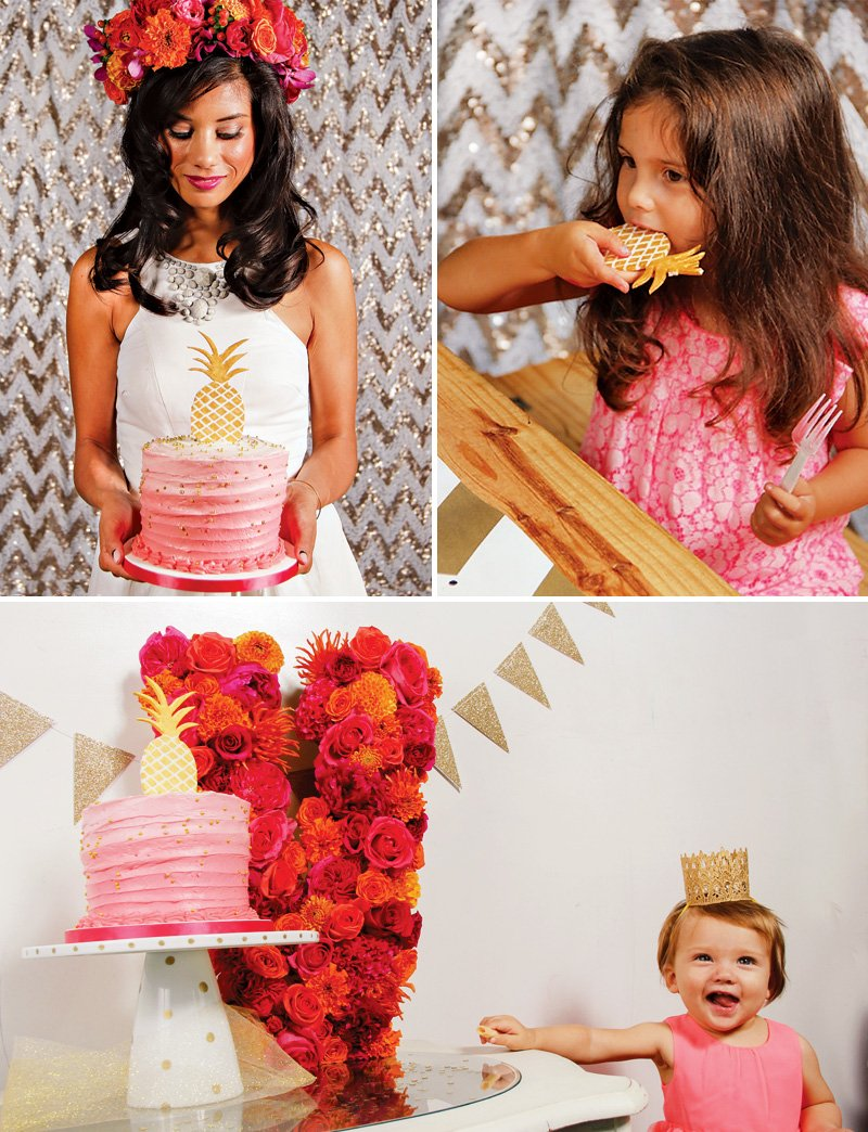 pink and gold pineapple first birthday theme