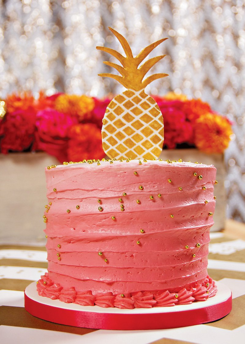 pink and gold pineapple cake