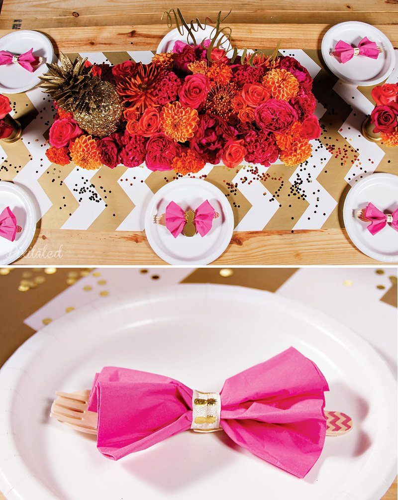 pink and gold party table with chevron runner
