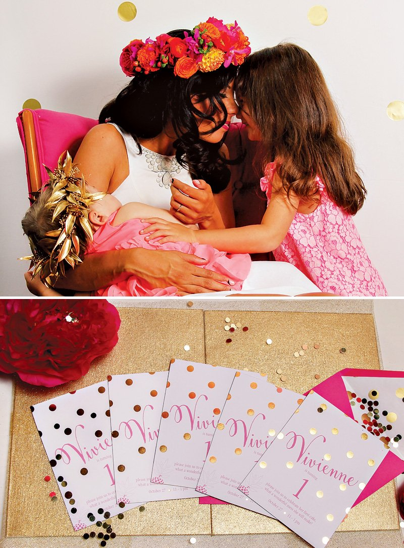 gold foil first birthday invitations