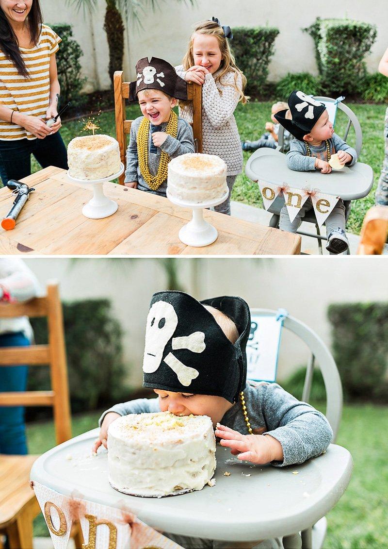 pirate birthday party smash cake gold white