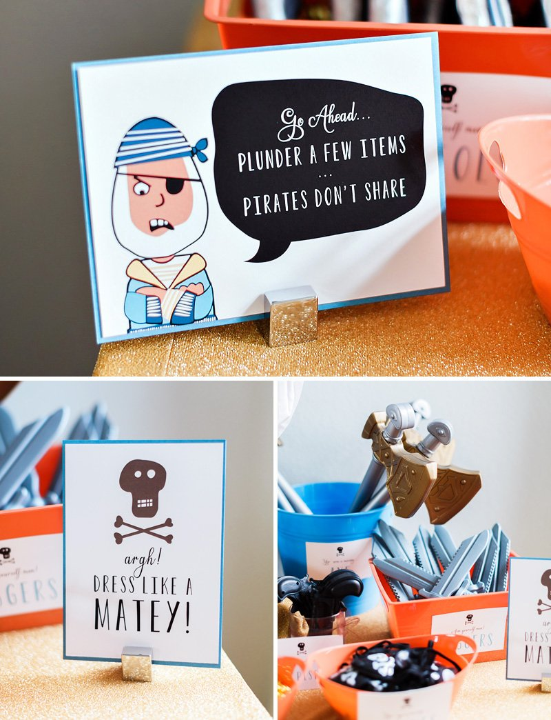 pirate party dress up - custom signs