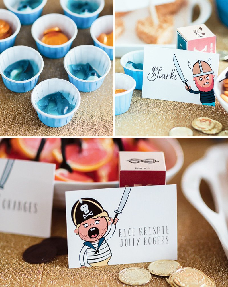 pirate party treats - shark candy cups