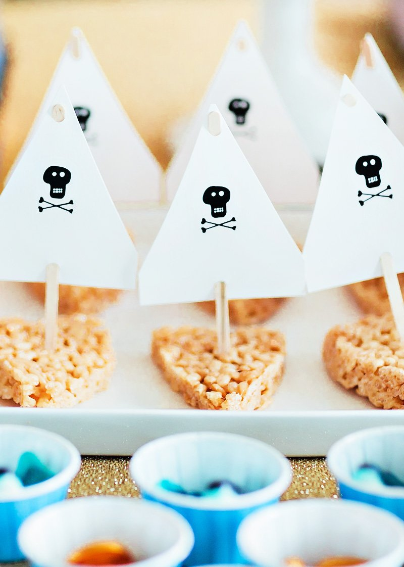 rice krispy pirate ships - pirate party