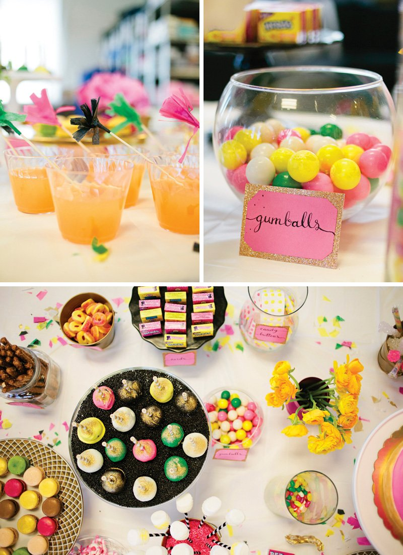 rainbow baby shower drink, snack and candy ideas