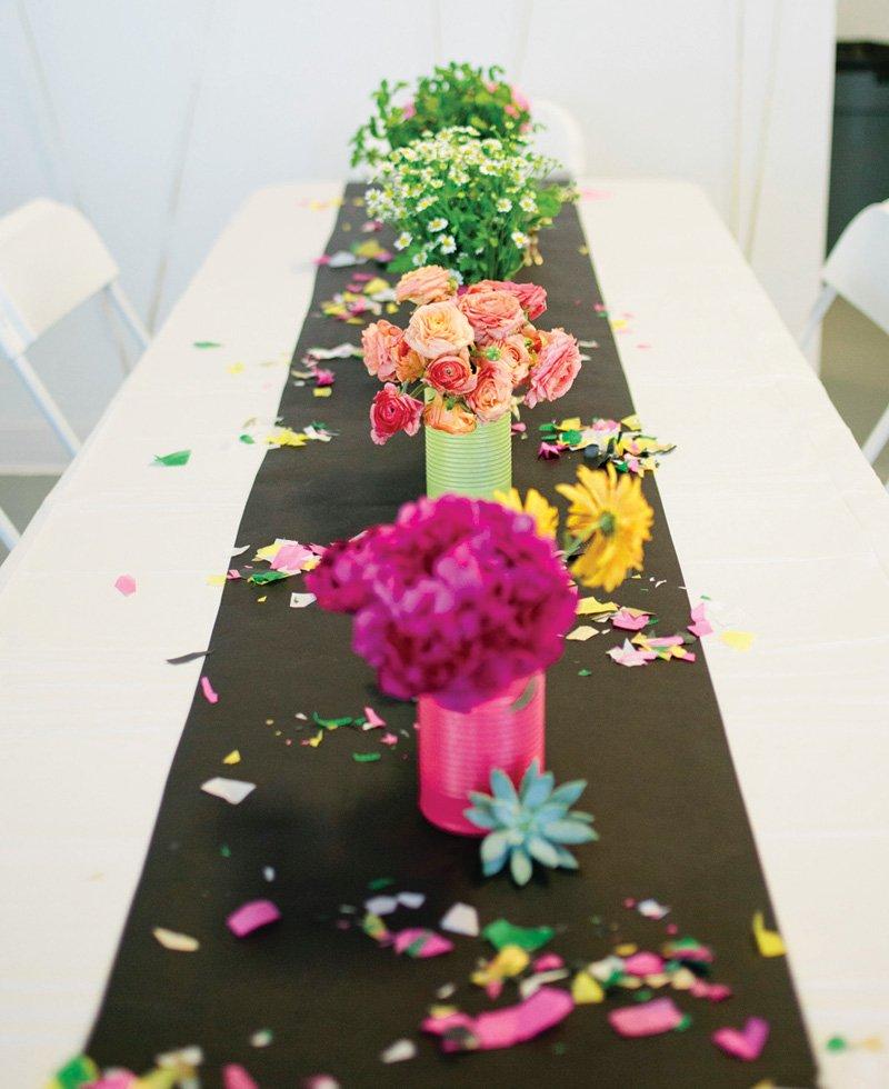 DIY rainbow confetti table runner