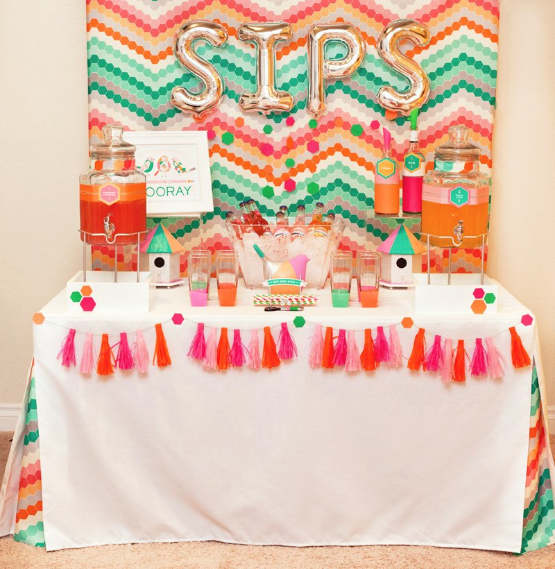 Geometric Styled Drink Station - Pink Orange Mint