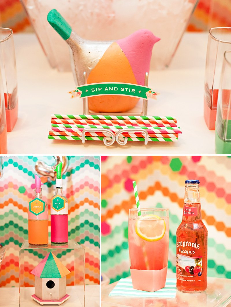 geometric party drinks + color-blocked bird