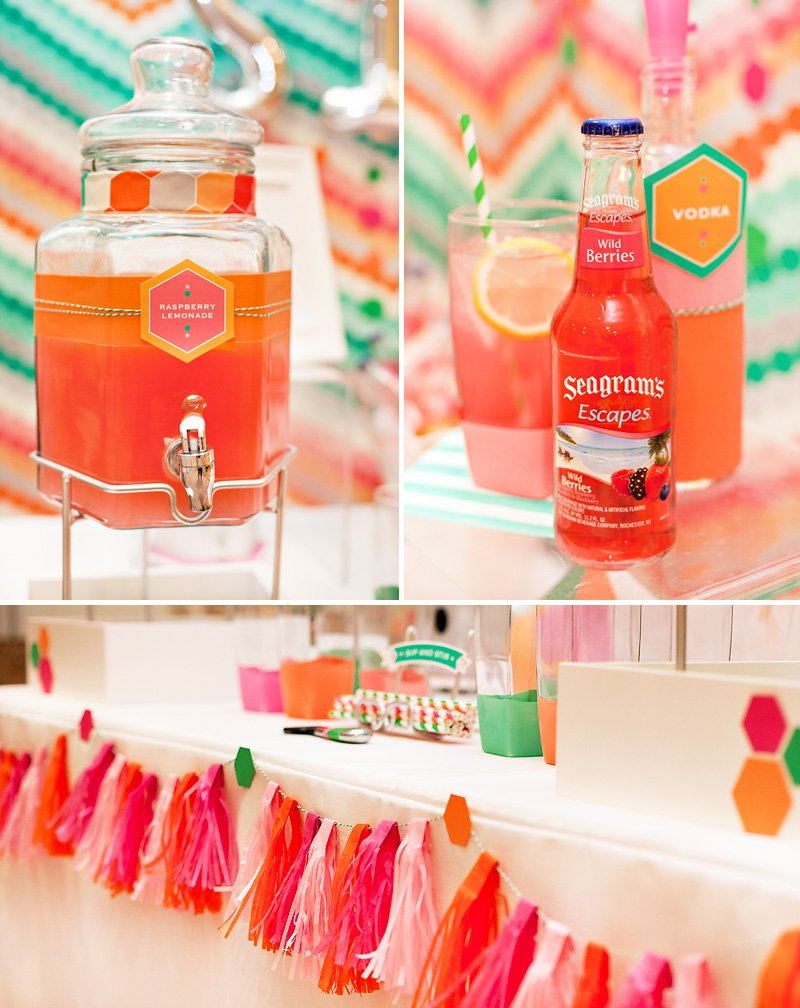 pink orange mint party drinks