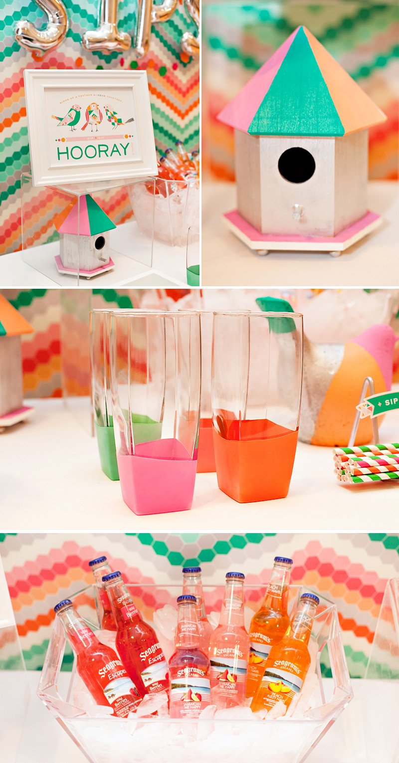 balloon dipped glasses + geometric birds