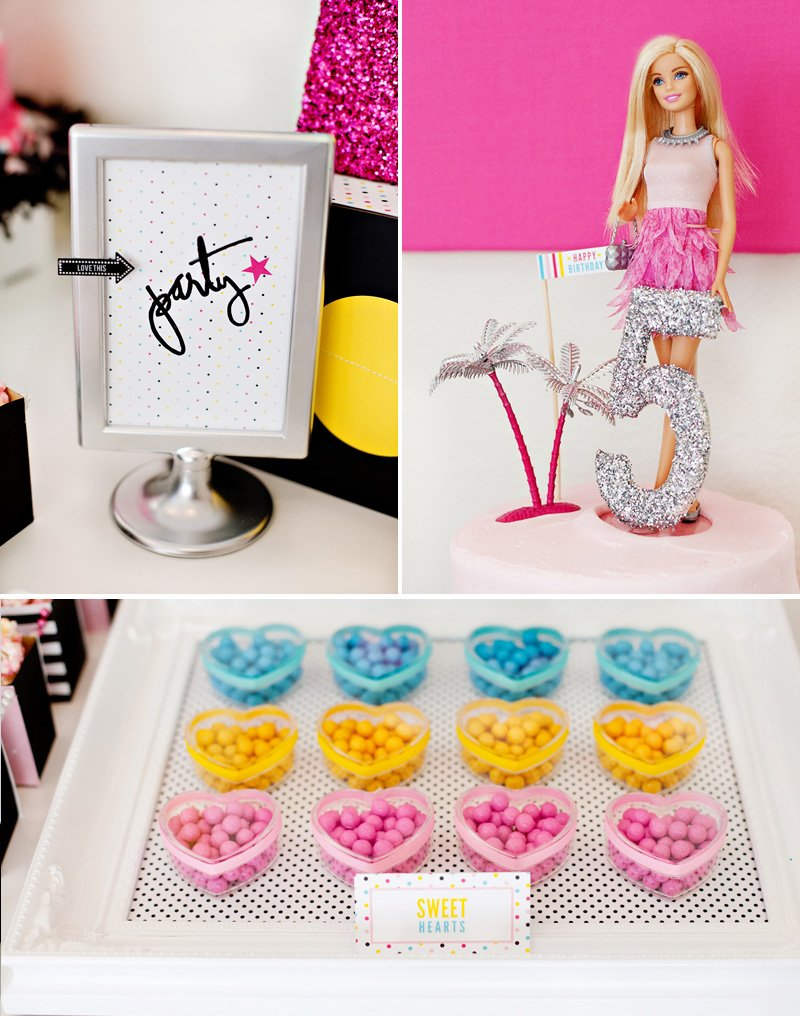 Barbie Cake Topper and Candy Heart Containers