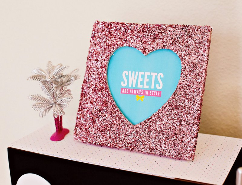 Pink Glittered Frame - Sweets Table