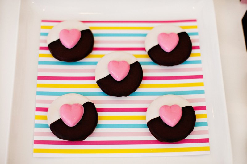 Black White Pink Fashionista Heart Cookies
