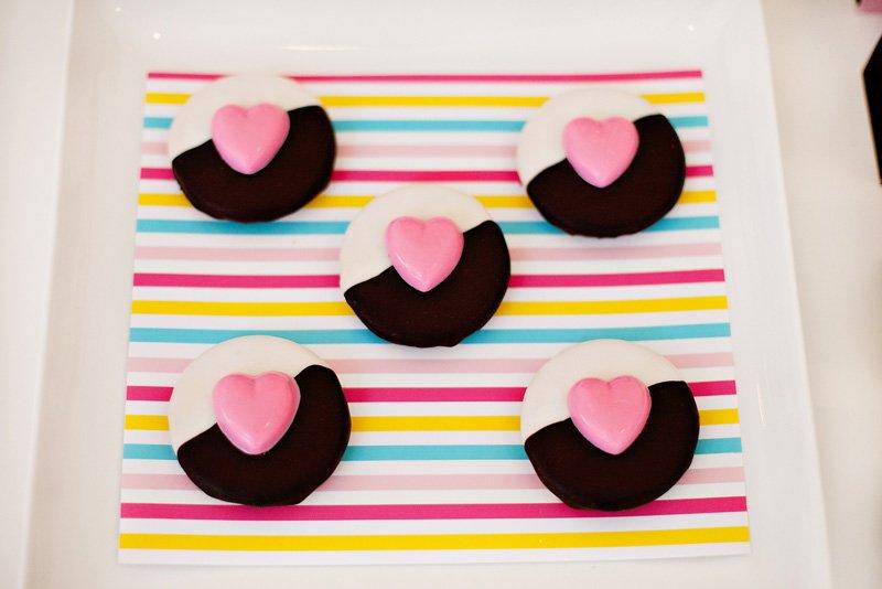 Black White Pink Fashionista Heart Cookies