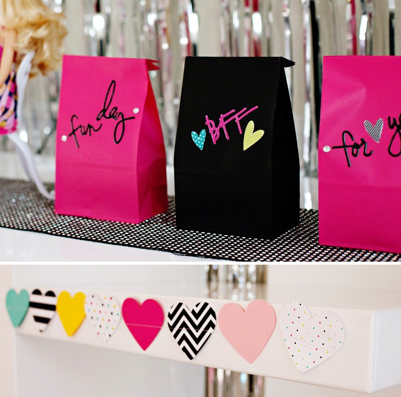DIY Pink Black Heart Confetti Favor Bags